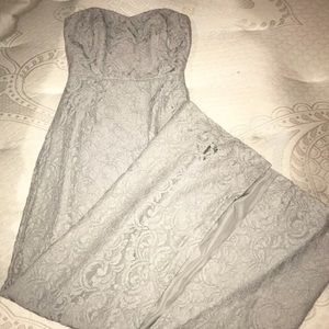Grey lace dress gown